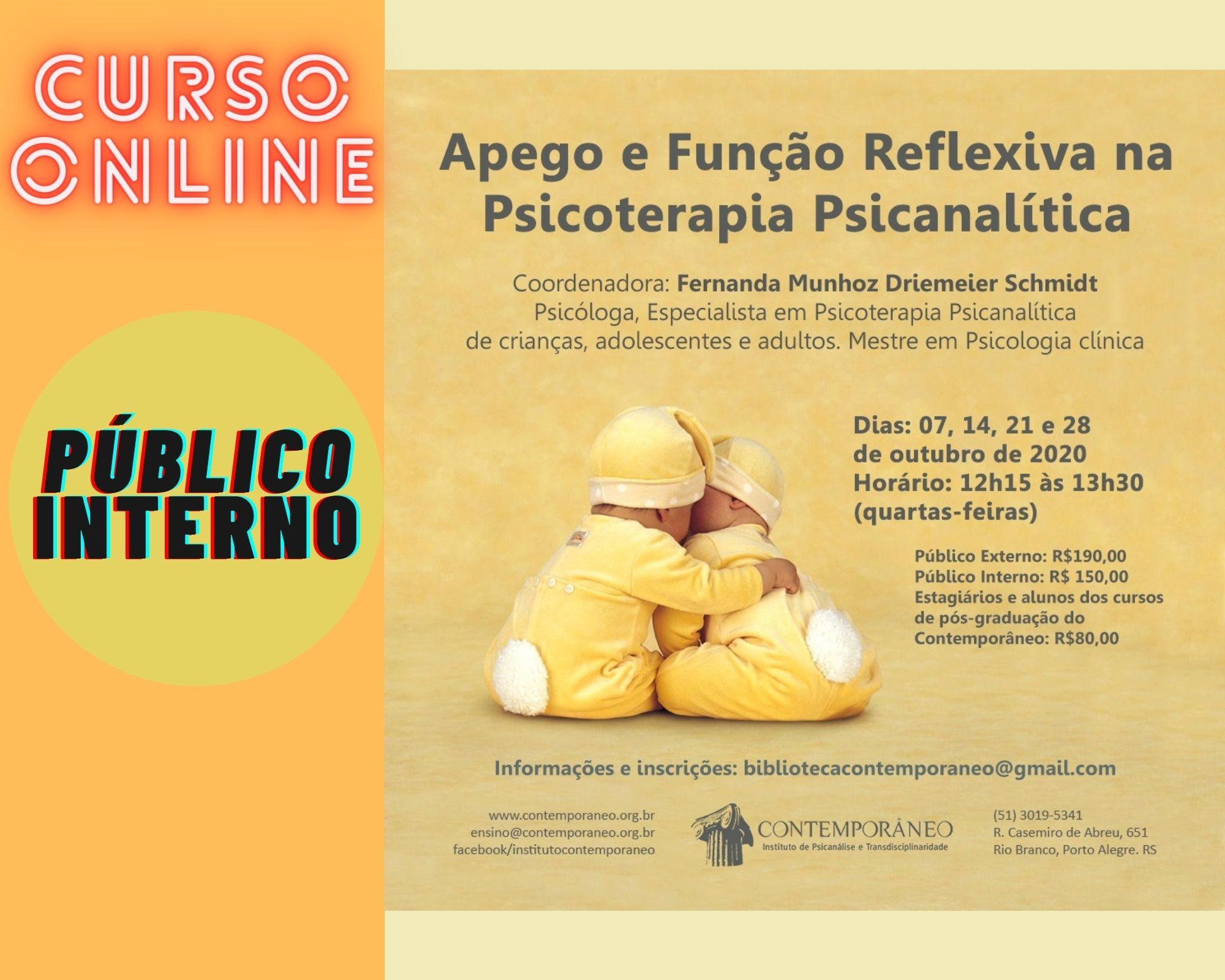 Curso para Apego e Função Reflexiva na Psicoterapia Psicanalítica – Público Interno