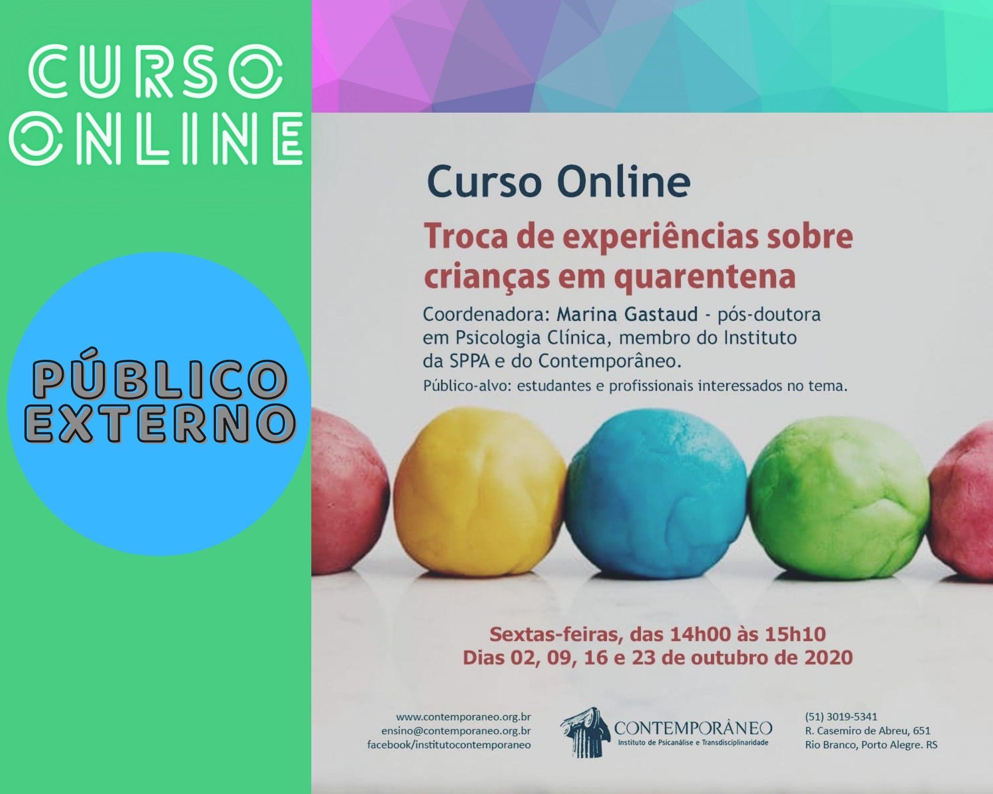 Curso para Troca de experiências sobre crianças em quarentena (para leigos) – Público Externo