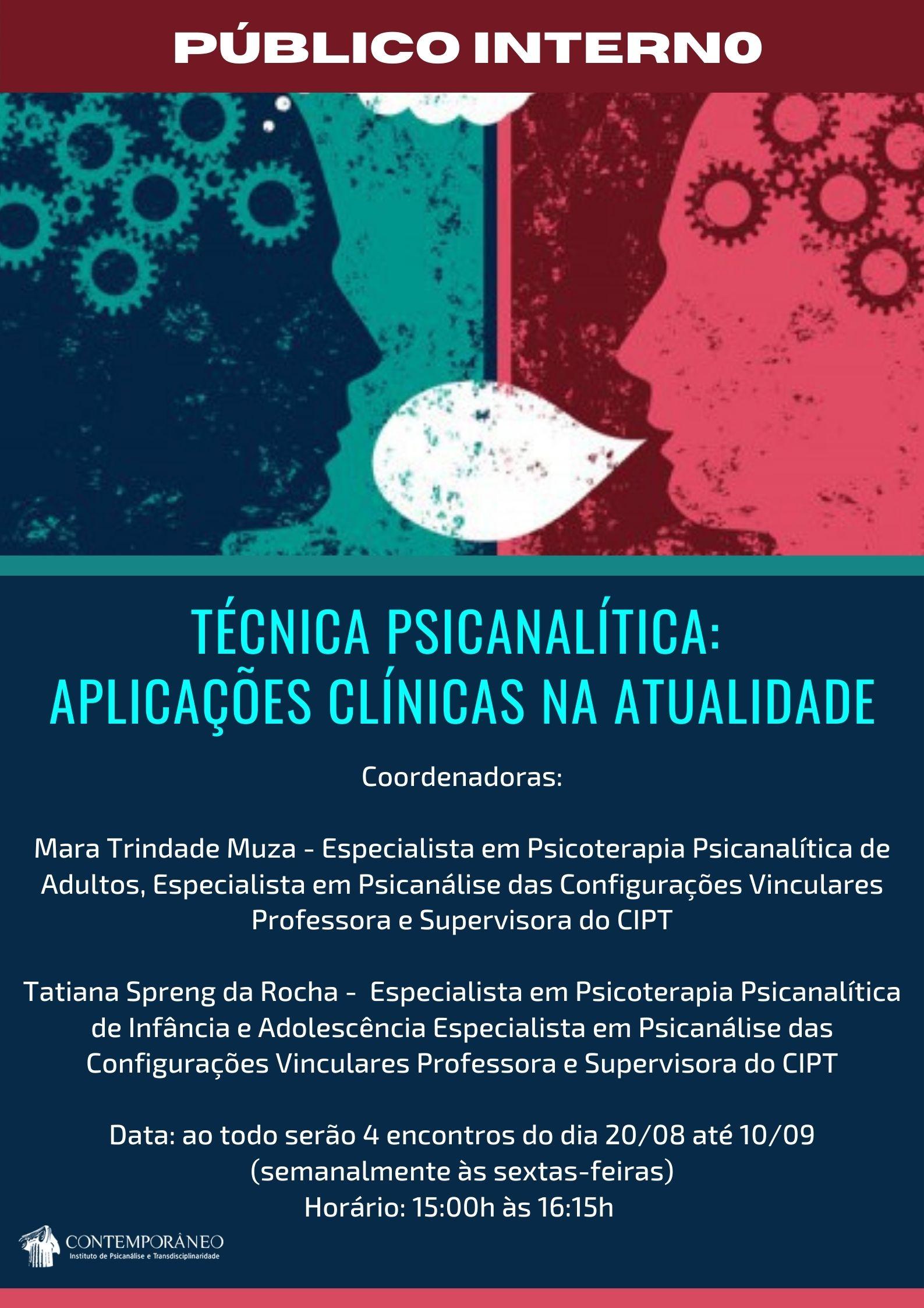 Curso para Técnica Psicanalítica: Aplicações Clínicas na Atualidade - Público Interno
