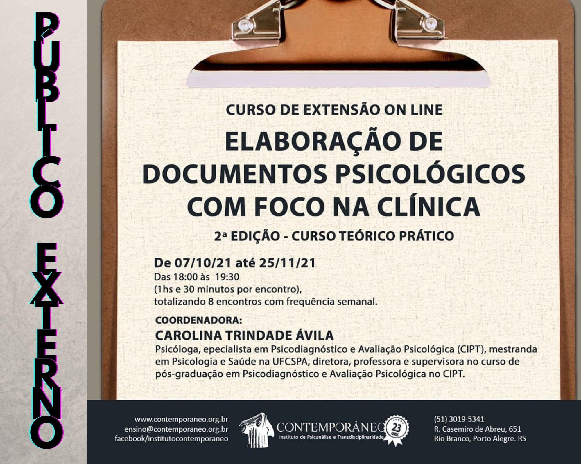 Curso para Elaboração de Documentos Psicológicos com Foco na Clínica - Público Externo