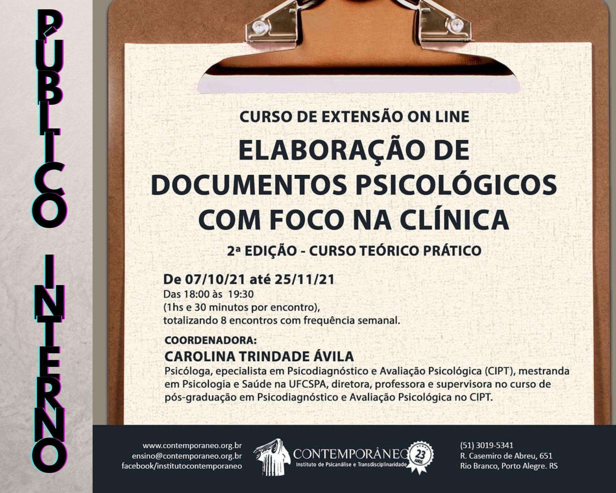 Curso para Elaboração de Documentos Psicológicos com Foco na Clínica - Público Interno
