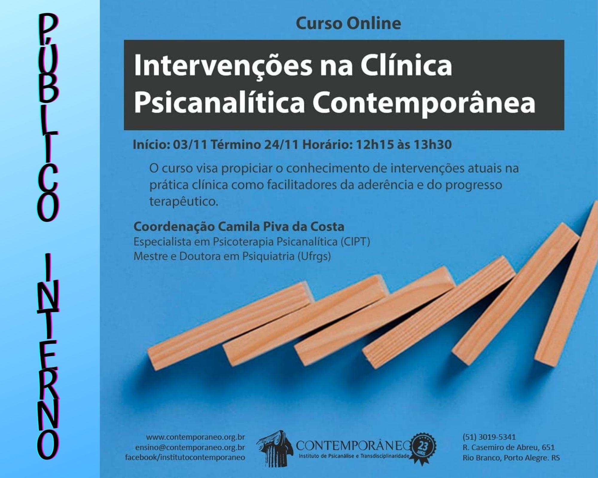 Curso para Intervenções na Clínica Psicanalítica Contemporânea - Público Interno