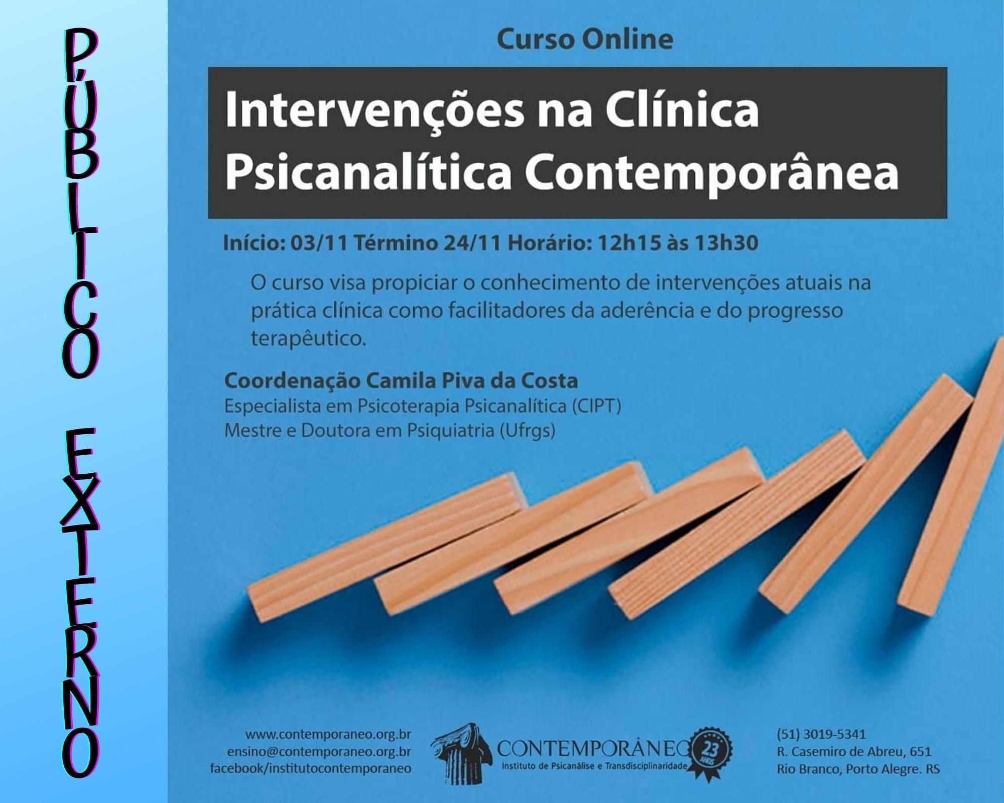 Curso para Intervenções na Clínica Psicanalítica Contemporânea - Público Externo